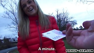 Czech girl Shanie Ryan picked up and drilled for money
