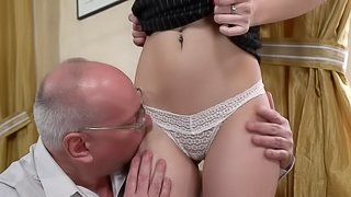 Horny grandpa finally gets to fuck Anya Krey while she moans