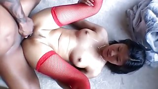 Asian Sweety in Fishnets Gobbles Black Rod