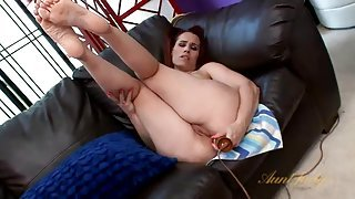Dirty mommy fucks her asshole with a toy