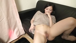 Asian brunette taking part in creampie xxx video