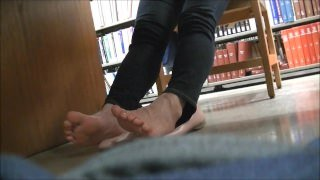 Candid Asian Library Foot Massage and Shoeplay