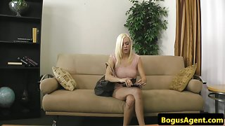Auditioning amateur pussypounded on couch