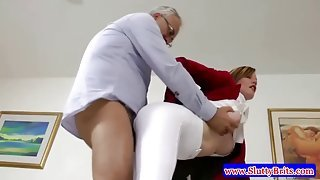 Old perv fucks a gorgeous young babe in crotchless tights