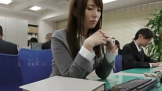 Great Japanese blowjob from the secretary in a short skirt